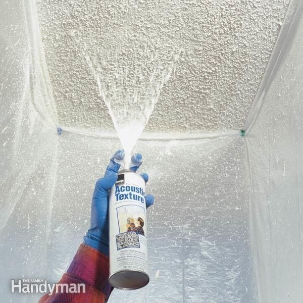 When water leaks onto a drywall ceiling, ugly coffee-colored stains usually appear. Sometimes the ceiling texture will become saturated and start to flake off. We'll show you how to repair small damaged areas of typical popcorn ceiling texture. It's easy when you use a special texture patch now available in an aerosol spray can.