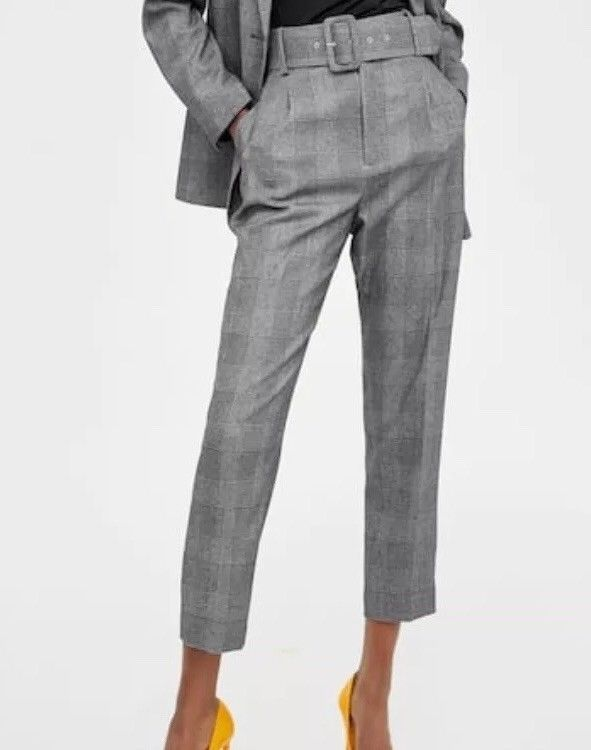 0896e0239e Zara High Waisted Belted Check Ankle Trousers With Belt Size M UK 10 #Zara