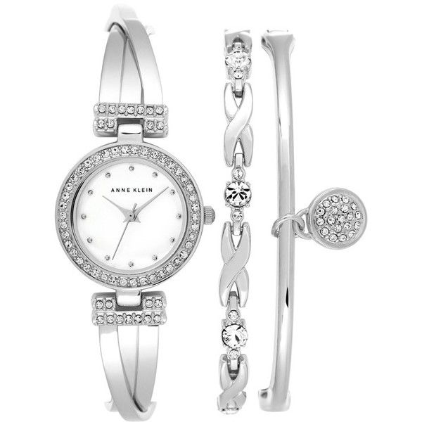 Anne Klein Boxed Bracelet & Bangle Set ($150) ❤ liked on Polyvore featuring jewelry, bracelets, watches, silver, hinged bangle, heart jewelry, bracelets & bangles, stainless steel jewellery and bangle bracelet