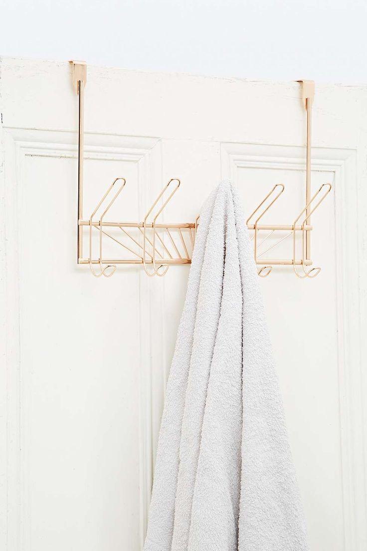 Porte-serviettes à 5 crochets à suspendre couleur or rose