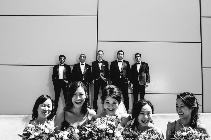 When the groomsmen have no idea what the bridesmaids are laughing about // Unique Cleveland Wedding Photography