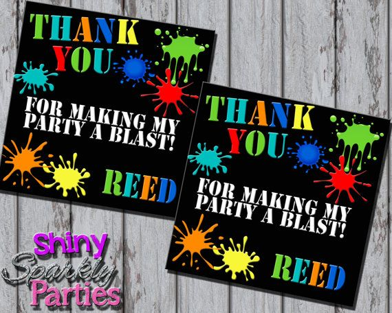 Printable PAINTBALL FAVOR TAGS Paintball by ShinySparklyParties