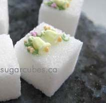 Wedding bell decorated sugar cubes. Love making these. Adorable in just about any color!