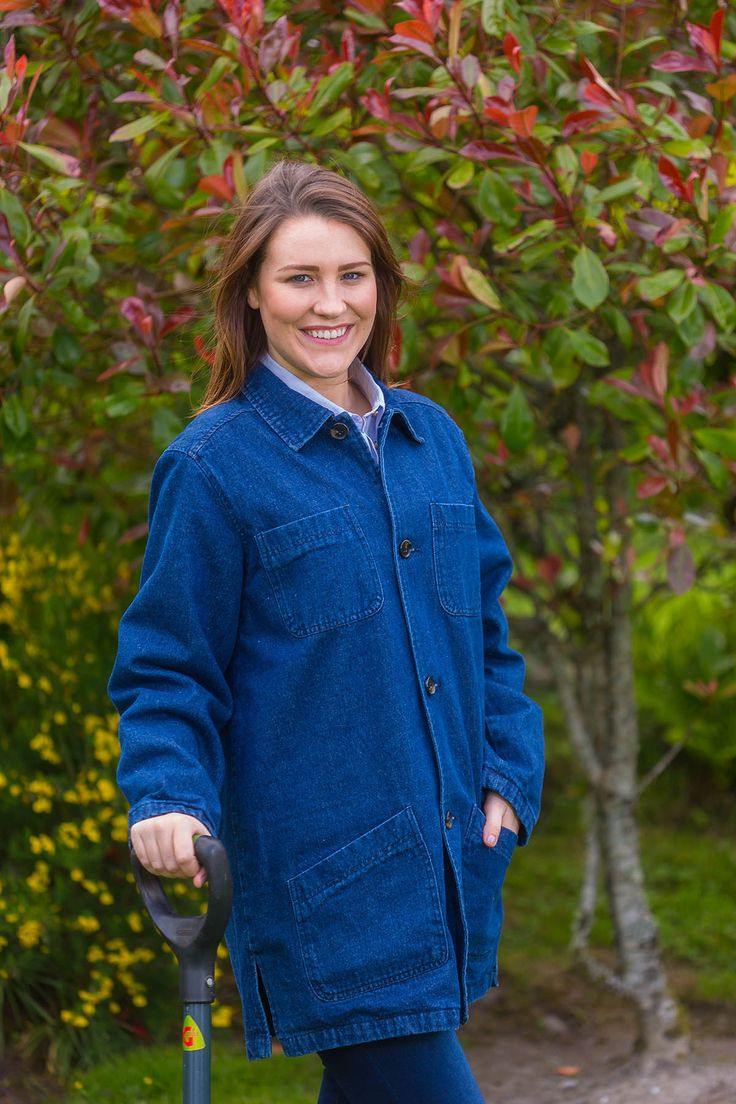 Gardening Jacket Ladies - Denim with Flannel Lining  #collarlessshirt #leevalleyireland #irishflannel #granddadshirt #collarless #fabulousflannel #irishshirts #grandfathershirt #flannelshirts