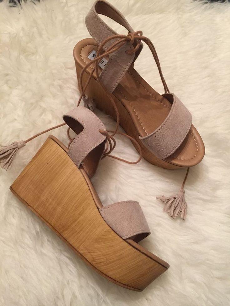 Steve Madden Beige SHANNON Lace Up Wood Bottom Wedge Platform Sandal Size 7…