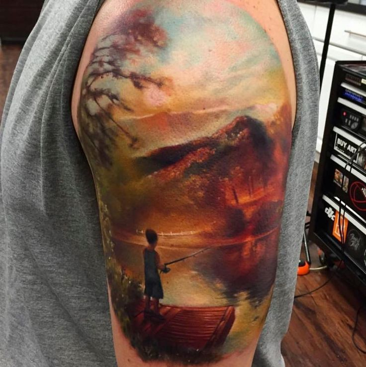 Incredible landscape tattoo! Looks just like an oil ...
