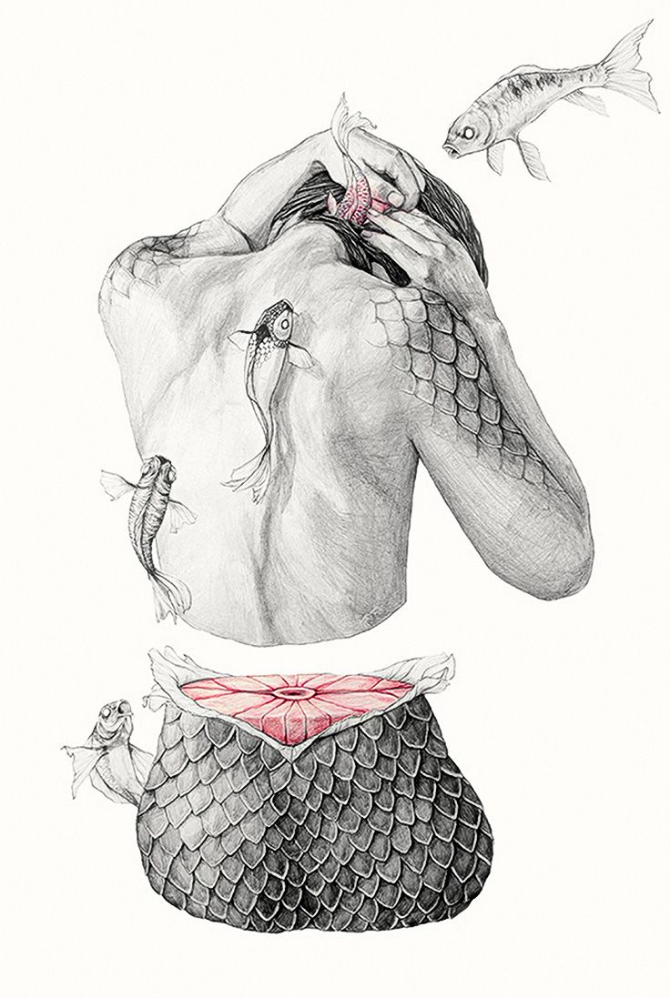 Artist: Elisa Ancori, pencils {contemporary figurative #surreal art female back amputated woman torso flying fish drawing} elisancori.com