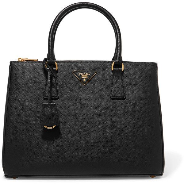 PradaGalleria Large Textured-leather Tote (£1,875) via Polyvore featuring bags, handbags, tote bags, black, prada tote, prada tote bag, prada, prada purses and prada handbags
