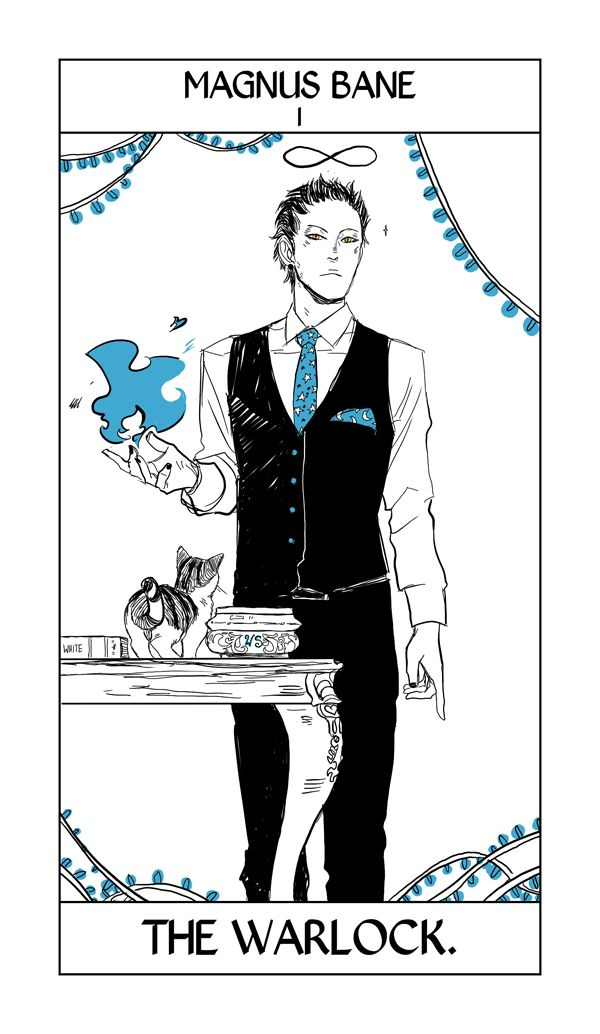 Magnus Bane Tarot card by Cassandra Jean. Magnus takes the major arcana card of the Magician of course; what else?