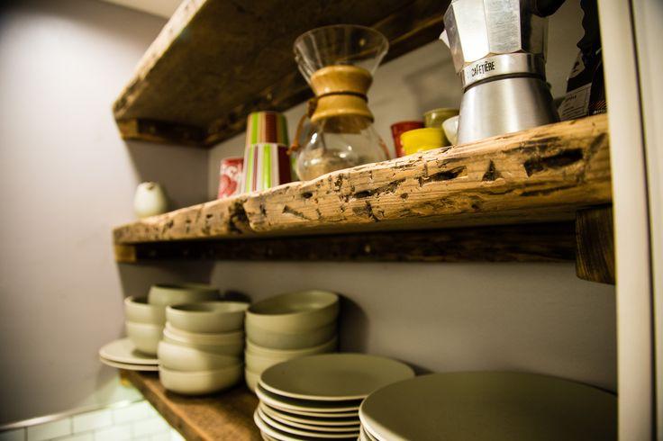 Kitchen rehab. Reclaimed wood open shelving.