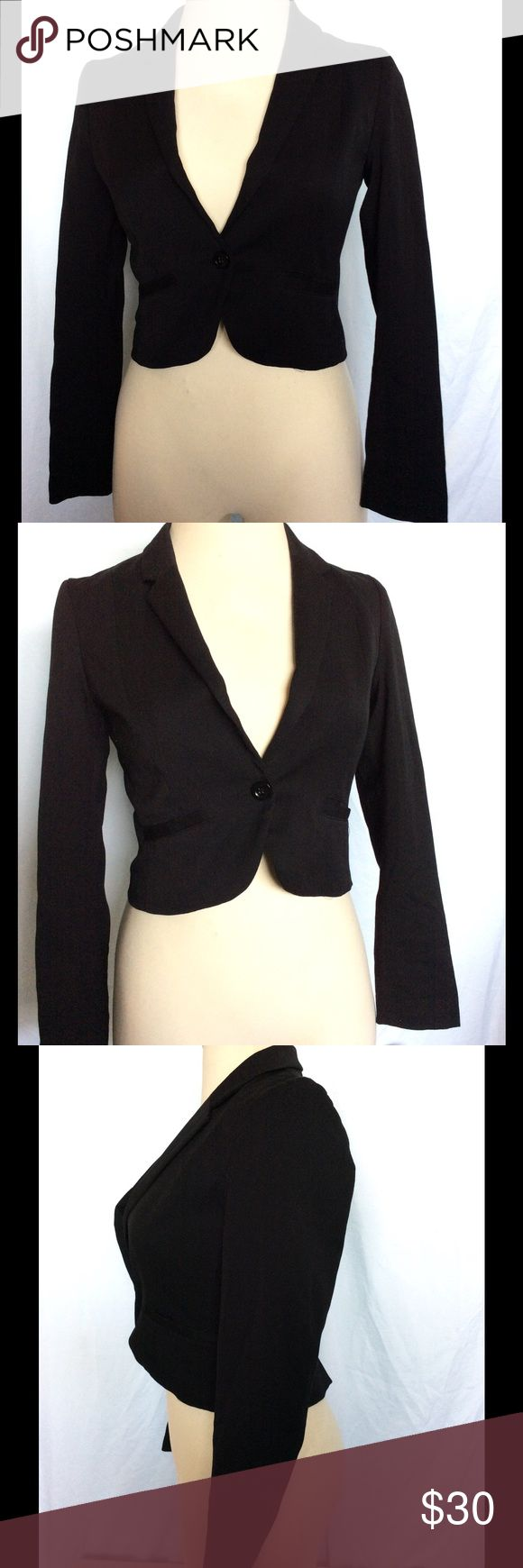 DIVIDED BY H&M Black Cropped Blazer Brand:  H&M  Type:  Blazer   Size:  10   Color:  Black  Measurements:  Arm 24 - Length 18 - Chest 17   Details:  cropped tuxedo style, one button closure   Condition:  Excellent.  No rips, stains or damages   Please ask any questions before buying.....Happy Shopping! Divided Jackets & Coats Blazers