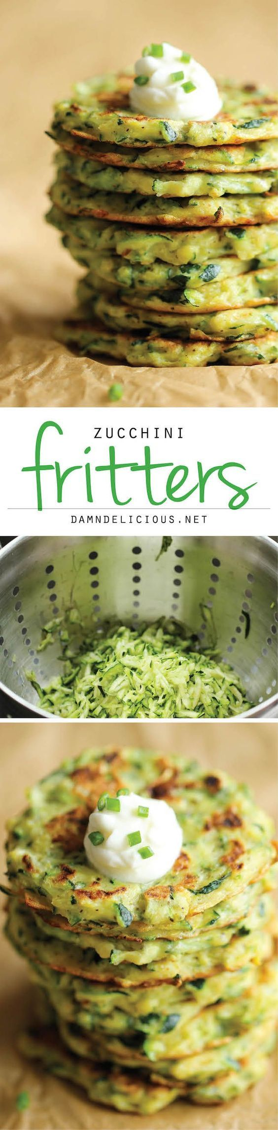 """Carb free Recipes Quest for Dinner: Zucchini Fritters  """"- These fritters are unbelievably easy to make, low calorie, and the perfect way to sneak in some veggies!""""  """"1 1/2 pounds zucchini, grated 1 teaspoon salt 1/4 cup  (grain-free) flour 1/4 cup grated Parmesan 2 cloves garlic, minced 1 large egg, beaten Kosher salt and freshly ground black pepper, to taste 2 tablespoons olive oil"""""""
