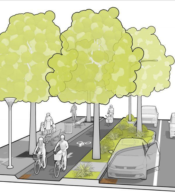 Trees are not forgotten in Mass DOT's Separated Bike Lane Guide. Click image for link to full guide and visit the slowottawa.ca boards >> http://www.pinterest.com/slowottawa #ad