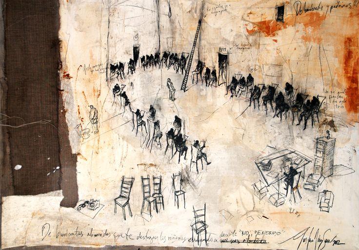 De la serie De Burócratas y Padrinos. 70 x 100 cm. Mixta sobre lino. 2012.