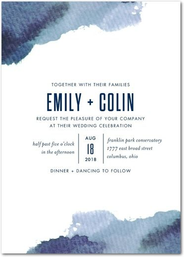 Watercolor strokes add a free-spirited element, perfect for an artistic couple or a beach wedding.
