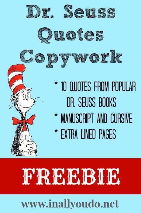Dr Seuss Quotes Copywork FREEBIE