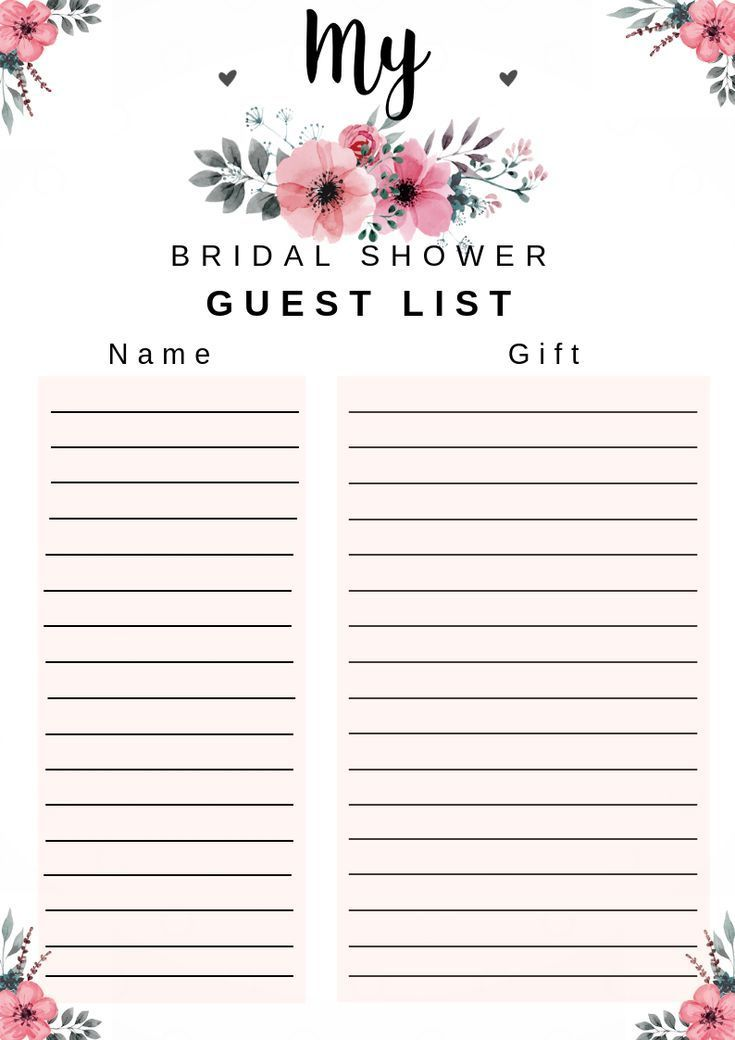 Bridal Shower Guest List Free Printable By Dressyourgift Lovely And Useful B Bridal Shower Gift List Bridal Shower Bingo Bridal Shower Games Free Printables