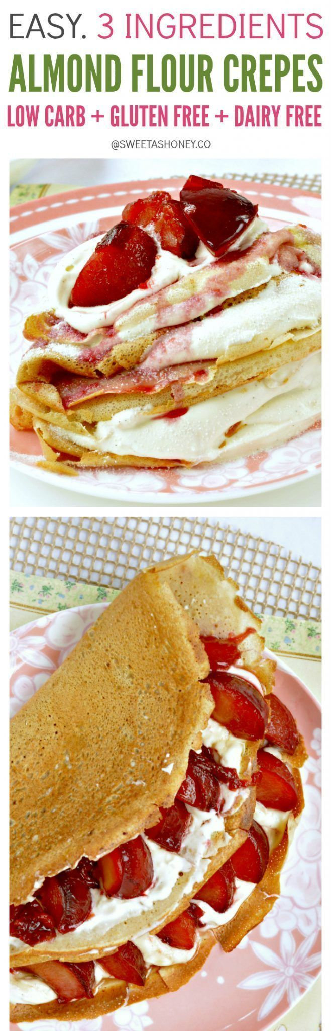 Almond Flour Crepes contains only 3.8 g net carbs per crepes. Easy 4 ingredients recipes with eggs, almond flour, coconut oil an