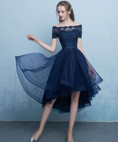 33f2bf7a3c57 Navy Blue High Low Prom Dresses 2018 Elegant Beteau Off Shoulder Short  Sleeve Lace Appliques Beaded Lace-up Tulle Formal Evening Dress sold by  foundlove.