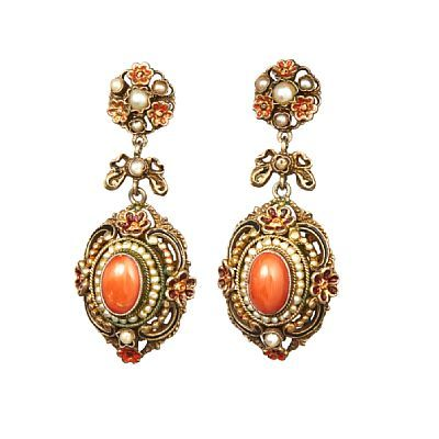 EARRINGS  Silver.  Executive with coral and small pearls. Shaped small flowers covered with red enamel.  Tilda 1900s.