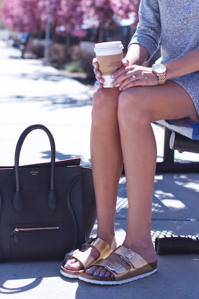 Gold Birkenstocks Hello Fashion Blog Pinterest Bags