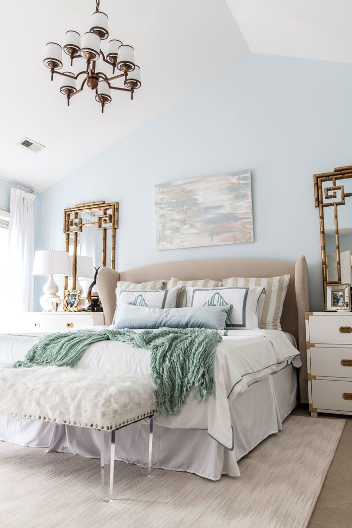 Master Bedroom | Campaign Chest | Calming | Serenity | Abstract Art | Monogram www.styleyoursenses.com