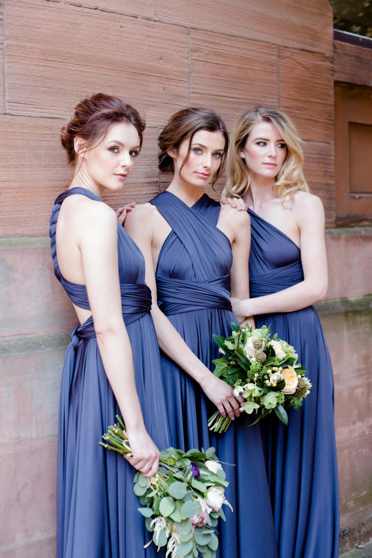 Pewter twobirds dresses | Bridesmaid Inspiration - twobirds Bridesmaid | Multiway, convertible, wrap dresses | Image by Claire Graham
