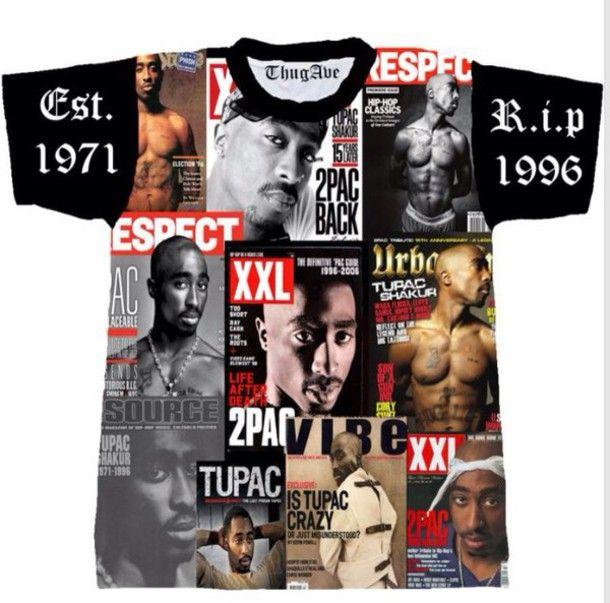 shirt 2pac shakur tupac shirt magazine thuggin thug life thug