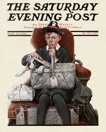 Norman Rockwell's Boy with Dog in Picnic Basket, May 15, 1920 Issue of The Saturday Evening Post