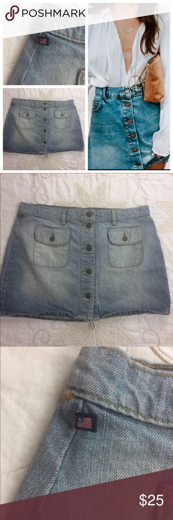 "Ralph Lauren button up skirt denim size 14 Size 14 Light Denim Mini Raph Lauren Skirt Button Down Front  Waist- 28"" Rise- 15"" StockCA9B39 *** model photo is not actual item used for style ideas*** Ralph Lauren Skirts Mini"