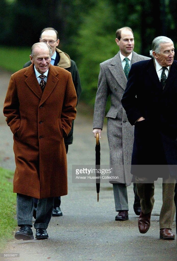 Prince Philip, Duke of Edinburgh, Prince Edward, Earl of Wessex and father of Sophie, Countess of Wessex, Christopher Rhys-Jones (R) arrive at St Mary Magdalene Church on the Sandringham Estate to attend the Sunday service on January 1, 2006, at Sandringham, England.