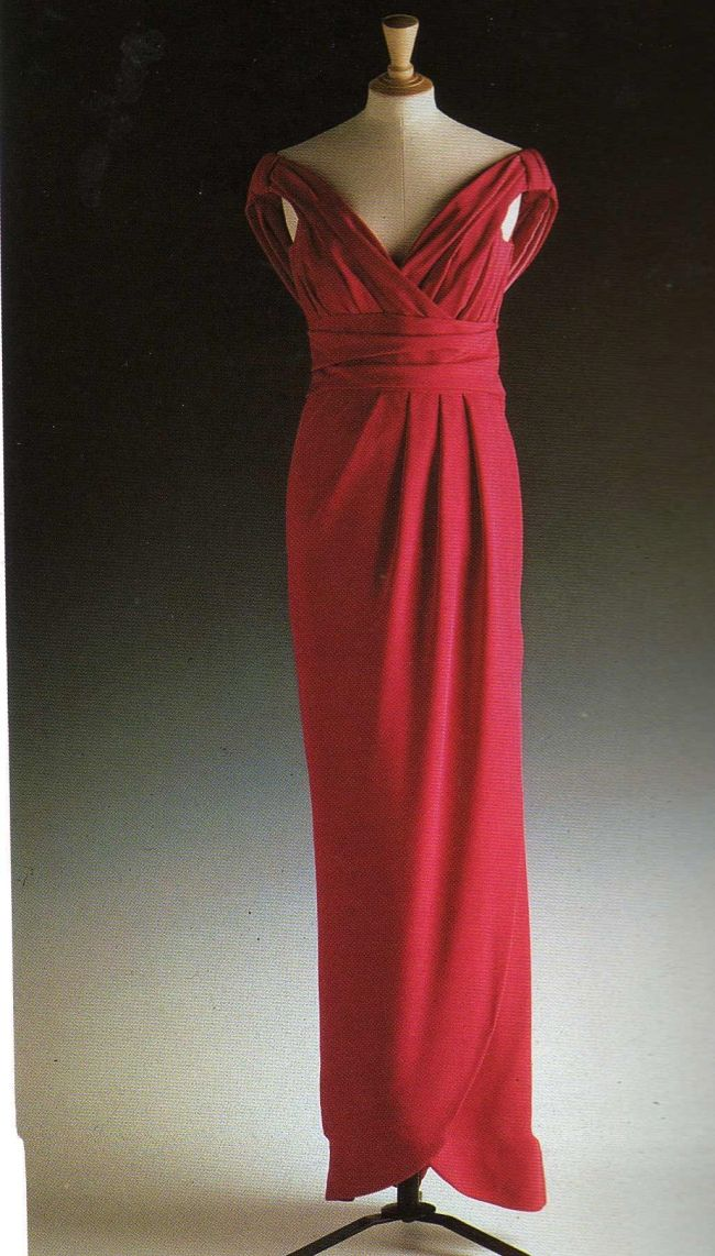 Red Silk Victor Edelstein Gown c. 1992
