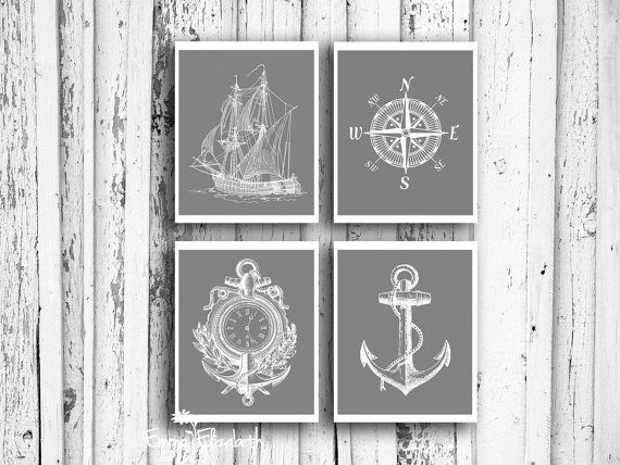 Gift for Dad  Nautical art print Dusty Gray Ship illustration Anchor art Coastal wall decor Compass art Gift for men Home office 8x10