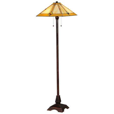 Amber and beige with large glass jewels craftsman floor lamp.