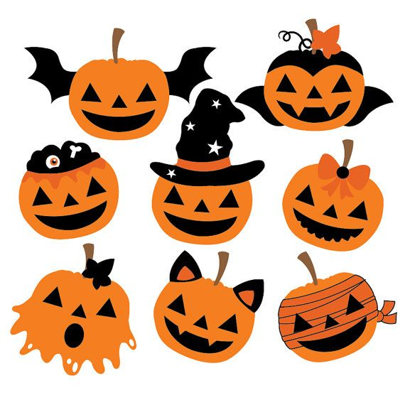 Halloween Pumpkins – Clipart & Vector Set – Instant Download – Personal and Commercial Use