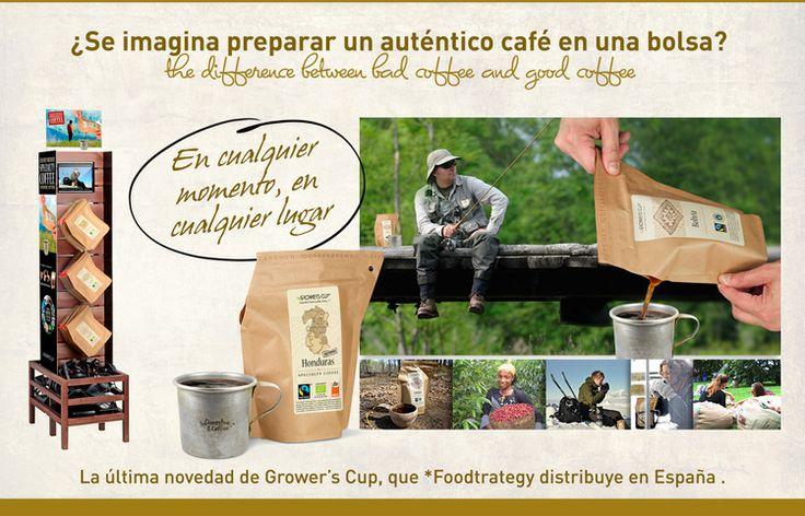 #Growers Cup Spain, #Growerscoffee #Outdoor coffee. #Outdoorfood. ¿Se imagina preparar un auténtico café en una bolsa?. Café de orígenes certificados.