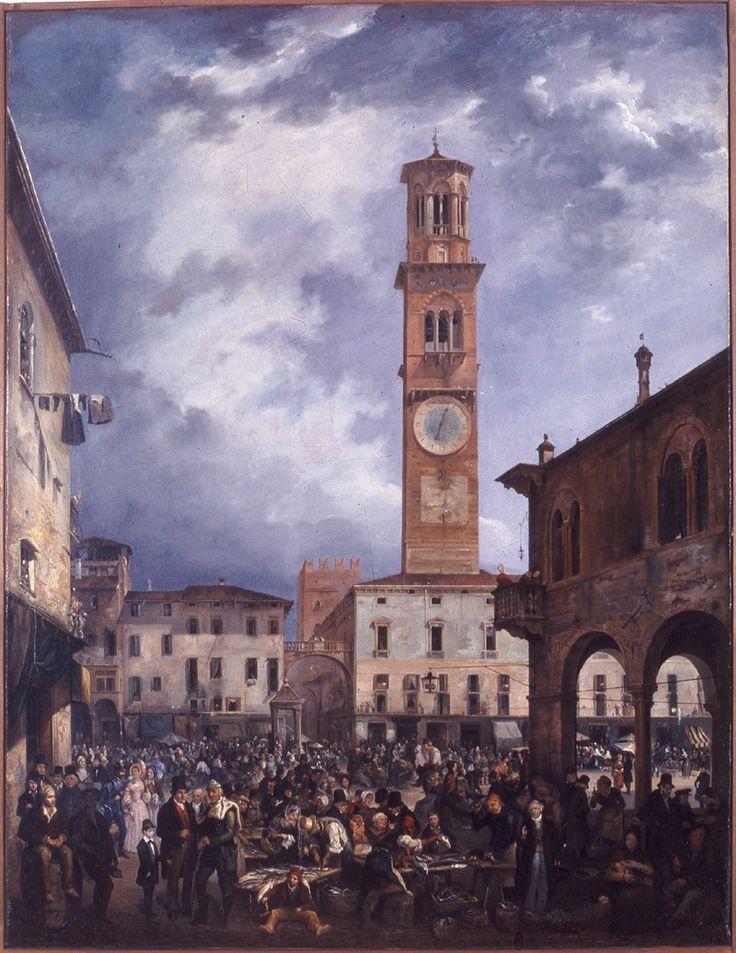 Carlo Ferrari detto Ferrarin, Piazza Erbe, 1839, olio su tela, Verona, Galleria d'Arte Moderna Achille Forti
