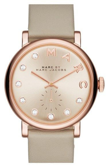 MARC+BY+MARC+JACOBS+'Baker'+Crystal+Index+Leather+Strap+Watch,+36mm+available+at+#Nordstrom