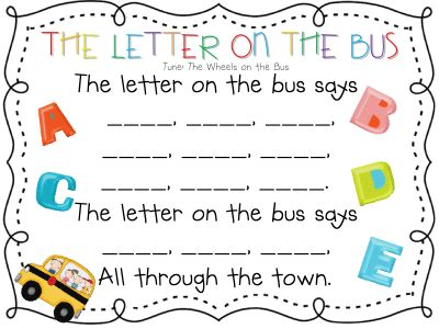 made a class book with this.  typed words for each letter~printed~glued a die-cut bus and upper/lowercase letter on each page.  Gonna sing it everyday!