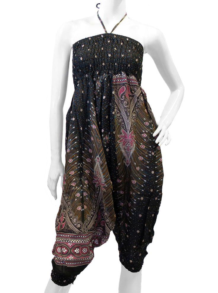 Pantalon sarouel ample et fluide à l\u0027imprimé ethnique motif plume et  paisley en viscose