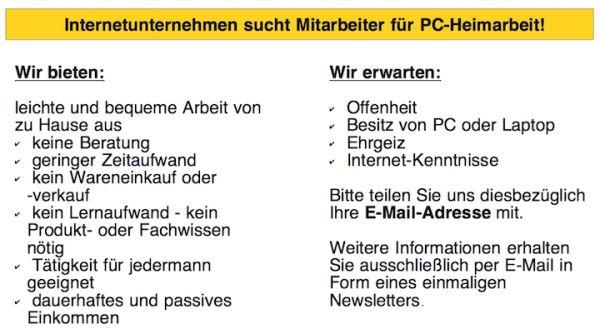 Internetunternehmen sucht Mitarbeiter für PC Heimarbeit