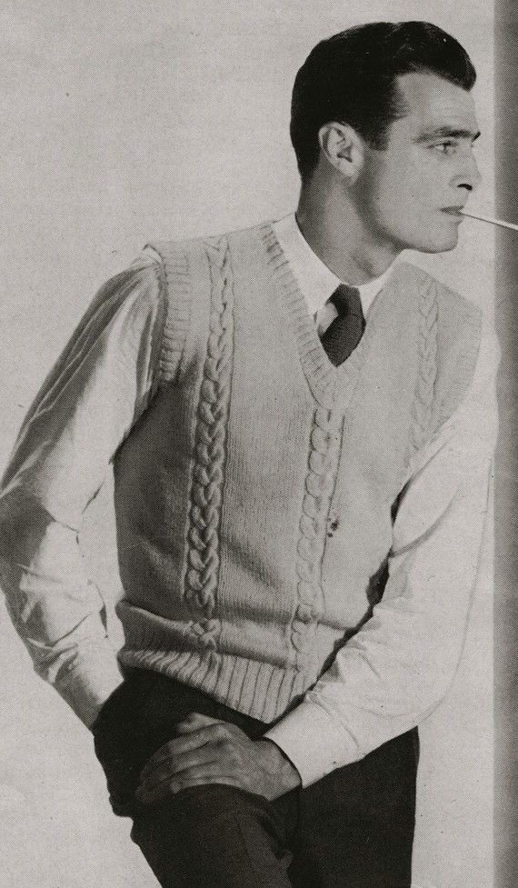 PDF of Mens Sweater Vest Knitting Pattern, Sz 38, 40, 42 via Etsy