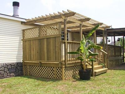 Custom Wood Deck Privacy Wall And Pergola For Mobile Or