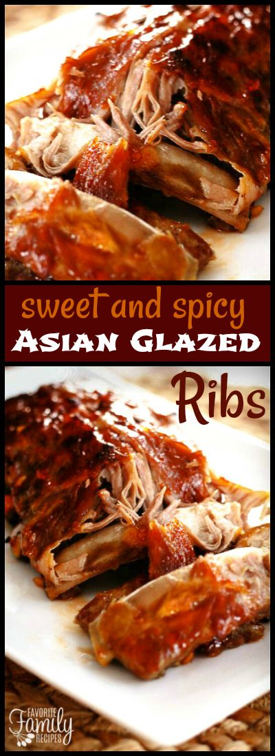These Sweet & Spicy Asian Glazed Ribs are so saucy and they literally fall off the bone. You will love how easy this method is - perfect every time! via @favfamilyrecipz