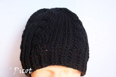 Picot - Szydełkowe Inspiracje: Czarna czapka szydełkowa