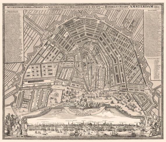 Amsterdam Netherlands 1727 https://www.etsy.com/listing/181544265/vintage-map-amsterdam-netherlands-1727 #Amsterdam #Netherlands