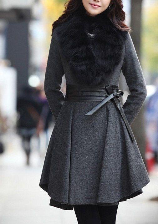 2-color style cape Wool Cashmere coat cotton coat winter coat cloak cape with faux fur collar  C124