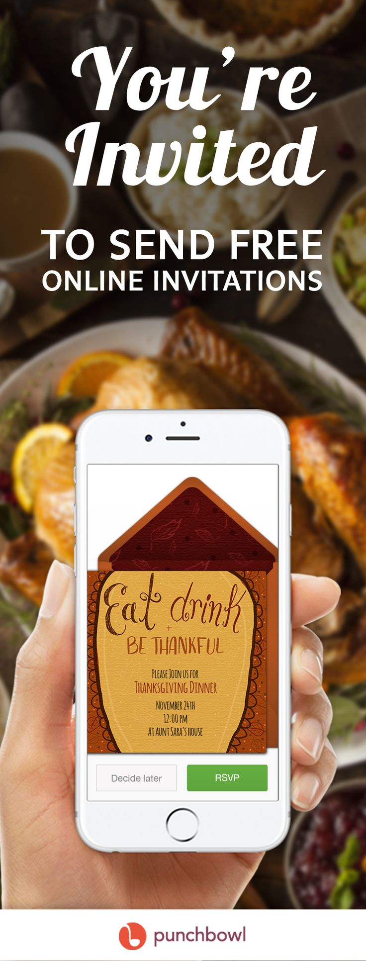 Paper invites are too formal, and emails are too casual. Get it just right with online invitations from Punchbowl. We've got everything you need for your Thanksgiving party.      https://www.punchbowl.com/online-invitations/v/f/thanksgiving?cat_header=true?utm_source=Pinterest&utm_medium=124.6P