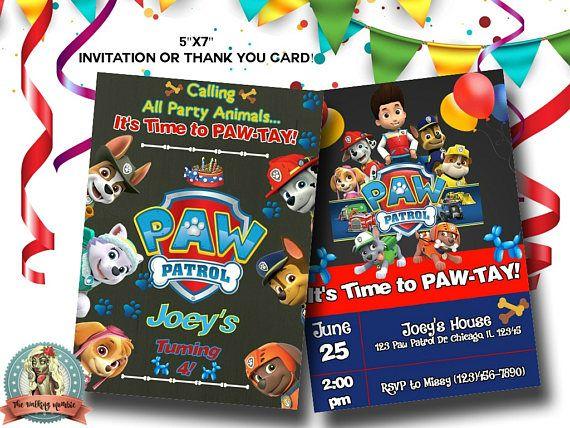 PAW PATROL INVITATION Paw Patrol Invites Paw Patrol Digital
