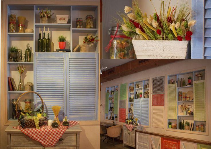 """декор и оформление интерьера для кафе """"Руккола"""". Рустик декор, декор ресторана, дизайн интерьера. Restaurant decor, country rustic style, Itally restaurant"""